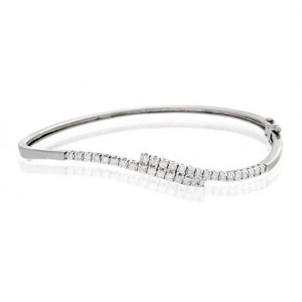 9K White Gold 0.50ct Diamond Bangle, J1098